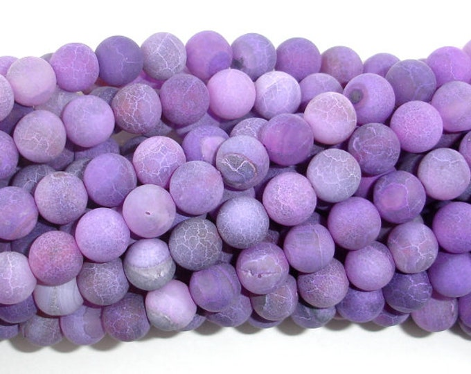 Frosted Matte Agate Beads- Purple, 8mm(8.3mm) Round Beads, 15 Inch, Full strand, Approx 48 beads, Hole 1mm (122054146)