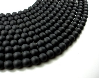 Matte Black Onyx Beads, Round, 12mm, 15 Inch, Full strand, Approx 33 beads, Hole 1mm (140054013)