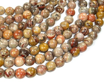 Chert Brecciated Jasper Beads, Round, 8mm (8.3mm), 15.5 Inch, Full strand, Approx 49 beads, Hole 1mm, A quality (191054001)