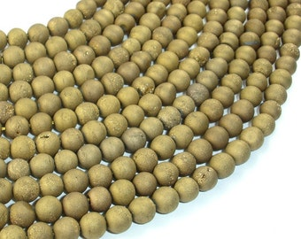 Druzy Agate Beads, Gold Geode Beads, 6mm(6.5 mm) Round Beads, 15.5 Inch, Full strand, Approx 62 beads, Hole 1mm (122054210)