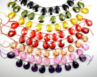 Cubic Zirconia Beads, CZ beads,  12mm x 16mm Faceted Pear Briolette Beads, 6 Inch, 1 strand, 10 beads, Hole 0.8 mm, A quality (PS1216)