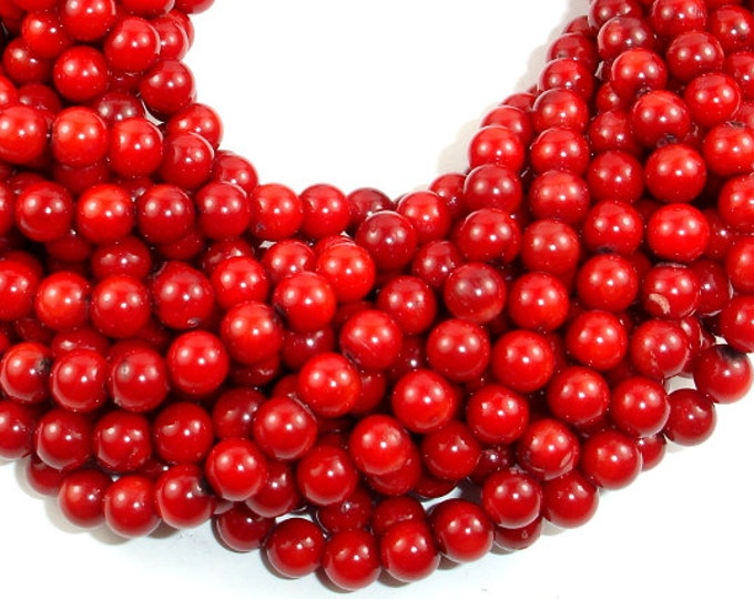 Red Bamboo Coral Beads, Round, Approx 6 mm, 15.5 Inch, Full strand, Approx 62-70 beads, Hole 0.6 mm (368054029)