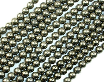 Pyrite Beads, Round, 6 mm, 15.5 Inch, Full strand, Approx 64 beads, Hole 1 mm (361054001)