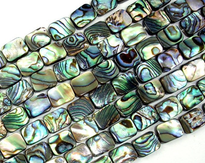 Abalone Beads, Rectangle, 8mm x 10mm, 15.5 inch, Full strand, Approx 38 beads, Hole 1 mm (101033002)