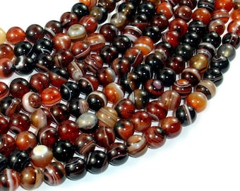 Banded Agate Beads, Sardonyx Agate Beads, 8mm(8.2mm) Round Beads, 15 Inch, Full strand, Approx 48 beads, Hole 1mm (132054062)