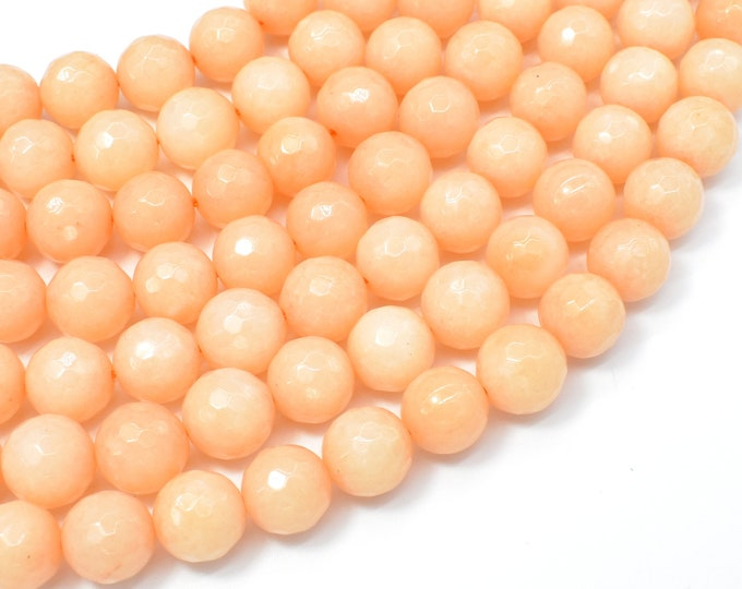Jade Beads, Peach, 10mm Faceted Round, 15 Inch, Full strand, Approx 37 beads, Hole 1mm, A quality (211025032)