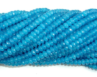 Blue Jade Beads, Faceted Rondelle, Approx 2 x 4 mm(2.5 x 4.2 mm), 15 Inch, Full strand, Approx 150 beads, Hole 0.6 mm, A quality (211024011)