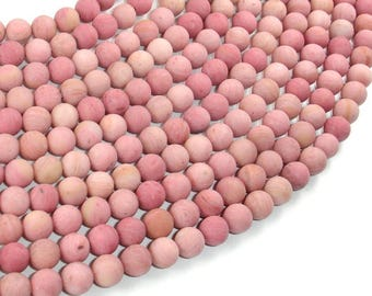Matte Rhodonite Beads, Round, 6mm (6.7mm), 15.5 Inch, Full strand, Approx 59 beads, Hole 1mm, A quality (386054012)