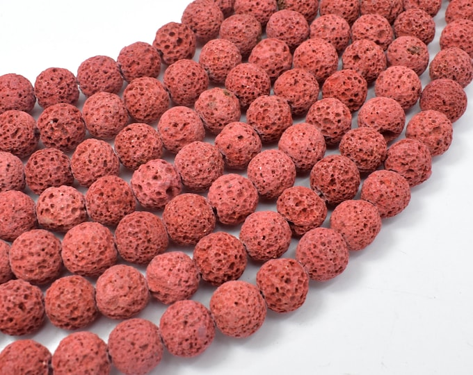 Red Lava Beads, 10mm (10.5 mm) Round Beads, 15.5 Inch, Full strand, Approx 38 beads, Hole 1 mm (300054039)