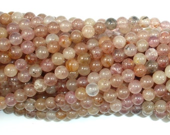 Strawberry Quartz, Lepidocrocite, 4mm (4.2 mm) Round Beads, 15.5 Inch, Full strand, Approx 94 beads, Hole 0.5 mm (415054010)