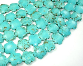 Howlite Turquoise Beads, 15 x 15mm Flower Beads, 15 Inch, Full strand, Approx 28 beads, Hole 1 mm (213036002)