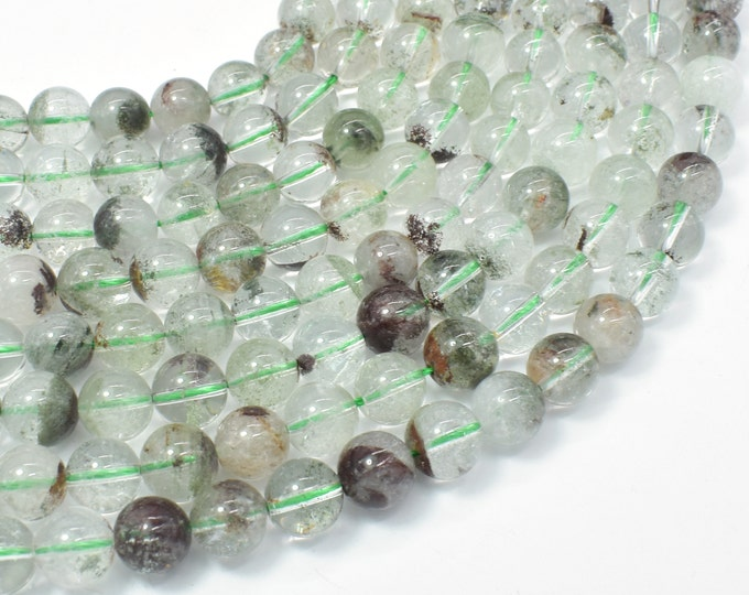 Phantom Quartz, Lodolite Quatz, 8mm (8.6mm) Round Beads, 16 Inch,Full strand, Approx 47-50 beads, Hole 1mm (343054006)