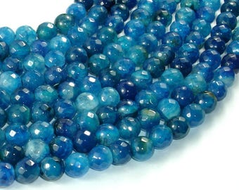 Blue Agate Beads, 8mm Faceted Round Beads, 15 Inch, Full strand, Approx 47 beads, Hole 1mm (122025296)