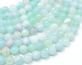 Banded Agate Beads, Striped Agate, Light Blue, 8mm Round Beads, 15 Inch, Full strand, Approx 48 beads, Hole 1mm, A quality (132054028)