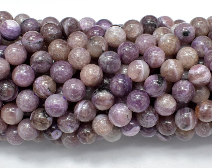 Genuine Charoite, 6mm (6.3mm) Round Beads, 16 Inch, Full stand, Approx 64 beads, Hole 0.8mm (187054002)
