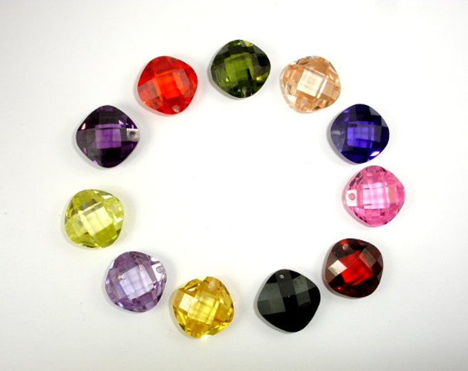 CZ beads, Cubic Zirconia Beads, 14x14mm Faceted Cushion Pendant Beads, 1 piece, Hole 1mm, A Grade (CU1414)