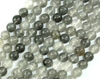 Gray Quartz Beads, Round, 8mm (8.5mm) 15.5 Inch, Full strand, Approx 48 beads, Hole 1mm, A quality (242054002)
