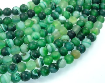 Matte Banded Agate Beads, Green, 8mm(8.4mm) Round Beads, 15 Inch, Full strand, Approx 47 beads, Hole 1mm (132054059)