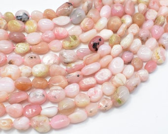 Pink Opal Beads, Approx 6x8mm Nugget Beads, 15.5 Inch,Full strand, Approx 44-48 beads, Hole 1mm (350047002)