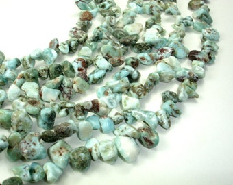 Larimar Beads, Top drilled, Free Form, Approx 6mm x 12mm, 15.5 Inch, Full strand, Hole 1 mm (299037001)