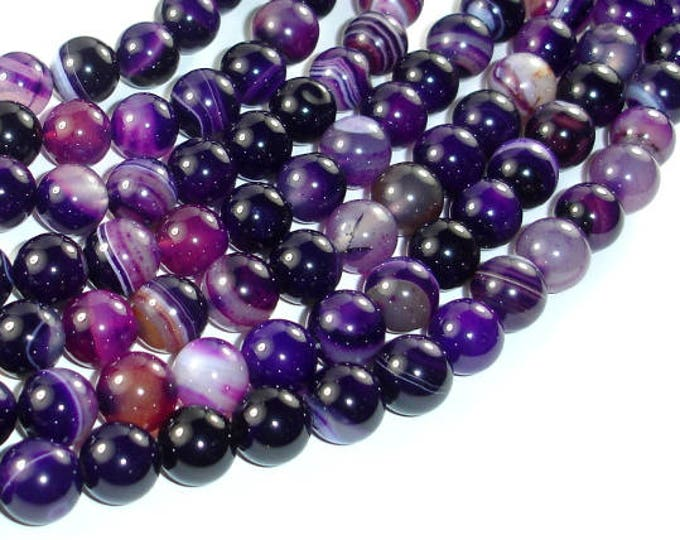 Banded Agate Beads, Purple, 10mm(10.3mm) Round Beads, 15 Inch, Full strand, Approx 38 beads, Hole 1mm (132054043)