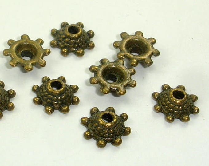 Bead Caps, Jewelry Findings, Zinc Alloy, Antique Brass Tone, 8x3mm, 30 pcs, Hole 2mm (006851021)