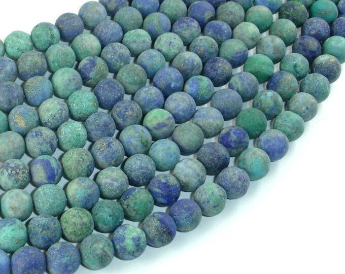 Matte Azurite Malachite Beads, 8mm Round Beads, 15 Inch, Full strand, Approx 46-50 beads, Hole 1 mm (129054009)