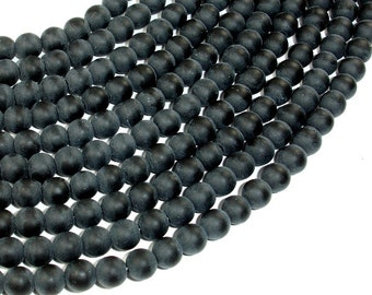 Matte Black Stone, 6mm (6.5 mm) Round Beads, 15 Inch, Full strand, Approx 62 beads, Hole 1 mm (146054004)