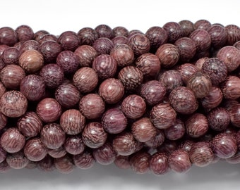 Purple Sandalwood Beads, 6mm Round Beads, 23 Inch, Full strand, Approx 108 Beads, Mala Beads (011750001)