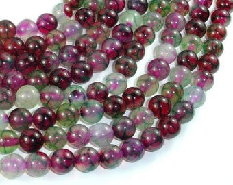 Dragon Vein Agate Beads, Green & Fuchsia, 8mm(8.3mm) Round Beads, 15 Inch, Full strand, Approx 46 beads, Hole 1mm, A quality (122054224)