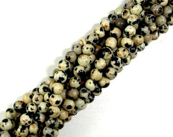 Dalmation Jasper Beads, Round, 4mm (4.6 mm), 15.5 Inch, Full strand, Approx 88 beads, Hole 0.8 mm (204054002)