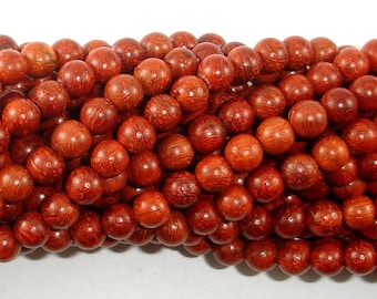Red Sandalwood Beads, 6mm(6.3mm) Round Beads, 25 Inch, Full Strand Approx 108 Beads, Mala Beads (011733001)