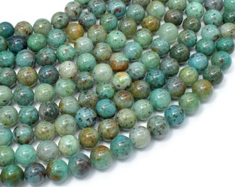 Chrysocolla-Natural , 8mm Round Beads, 16 Inch, Full strand, Approx 50 beads, Hole 0.8mm, A quality (196054020)