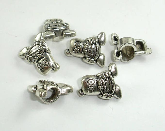 Metal Beads, Metal Cartoon Man Spacer, Large Hole Spacer, Zinc Alloy, Antique Silver Tone, 12x15x7mm, 20 pcs, Hole 4.8mm (006852027)