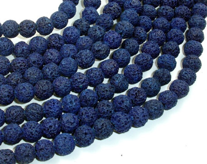 Dark Blue Lava Beads, Round, 8mm (8.5mm), 15.5 Inch, Full strand, Approx 48 beads, Hole 1 mm (300054037)