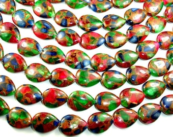 Mosaic Stone Beads, Multicolor, Flat Teardrop, 15 x 20mm, 15.5 Inch. Full strand, 20 beads, Hole 1mm (327143001)