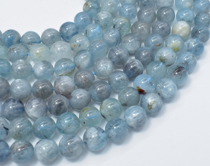 Genuine Aquamarine Beads, 10mm Round Beads, 15.5 Inch, Full strand, Approx 39-40 beads, Hole 1mm (123054021)