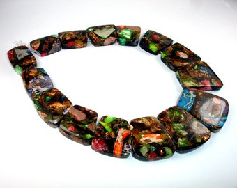 Mixed Impression Jasper Beads, (18-23)x16mm-(20-28)x35mm Top drilled Trapezoid Beads, 12.5 Inch, Full strand,15 Beads, Hole 1.2mm(281165002)