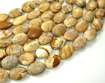 Picture Jasper Beads, 13x18mm Oval Beads, 15.5 Inch, Full strand, Approx 22 beads, Hole 1 mm (345030003)