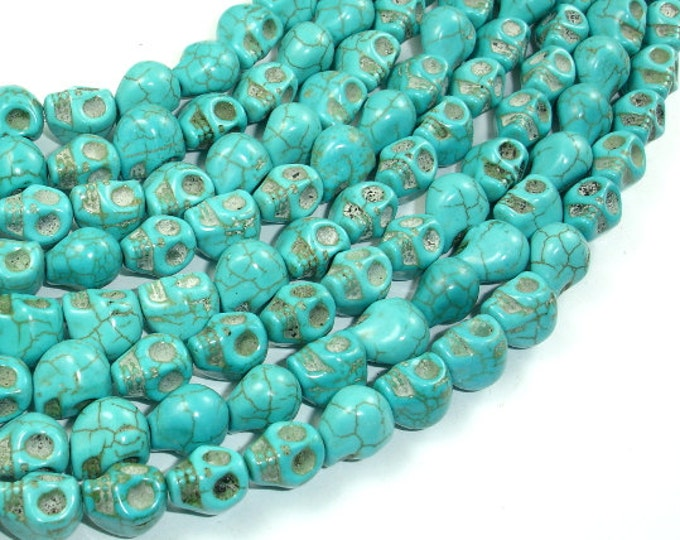 Turquoise Howlite Beads, 8 x 10mm Skull Beads , 15.5 Inch, Full strand, Approx 40 beads, Hole 1 mm (213077003)