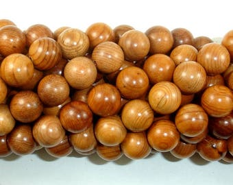 Taxus Chinensis Wood Beads, 10mm Round Beads, 42 Inch, Full strand, Approx 108 Beads, Mala Beads (011740003)