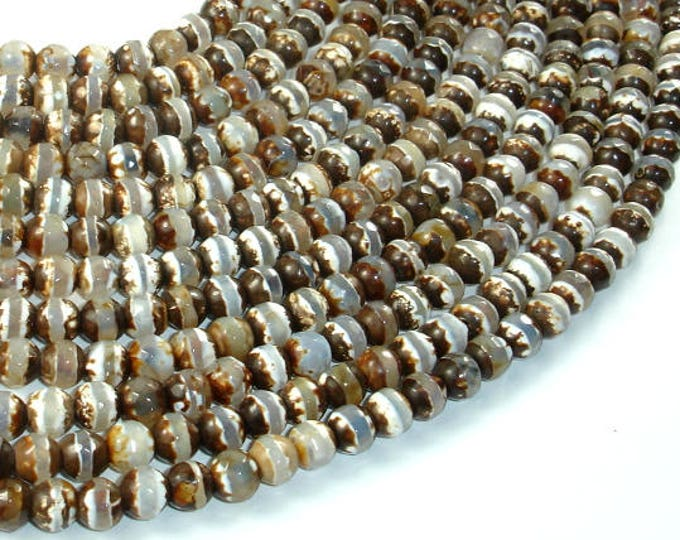 Tibetan Agate Beads, Brown, 6 mm Faceted Round Beads, 13 Inch, Full strand, Approx 61 brads, Hole 1mm (122025048)