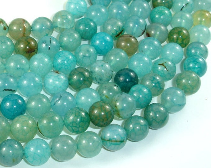 Dragon Vein Agate Beads, Sea Blue, 10mm(10.5mm) Round Beads, 15 Inch, Full strand, Approx 38 beads, Hole 1mm (122054013)
