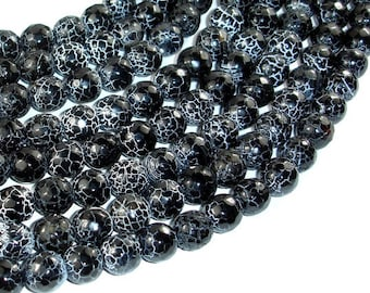 Black Crackle Agate, 10mm(9.5mm) Faceted Round Beads, 14 Inch, Full strand, Approx 38 beads, Hole 1mm (122025089)