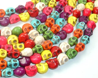 Howlite Skull Beads, Multi-color, 8x10, 16 Inch, Full strand, Approx 40 beads, Hole 1mm (275077012)