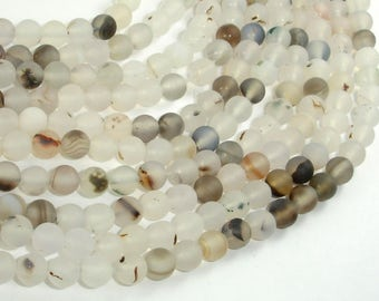 Frosted Matte Agate-White, Gray, 6mm Round Beads, 15 Inch, Full strand, Approx 63 beads, Hole 1 mm (122054229)