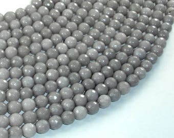Jade Beads, Light Gray, 6mm Faceted Round, 14.5 Inch, Full strand, Approx 60 beads, Hole 1mm, A quality (211025027)