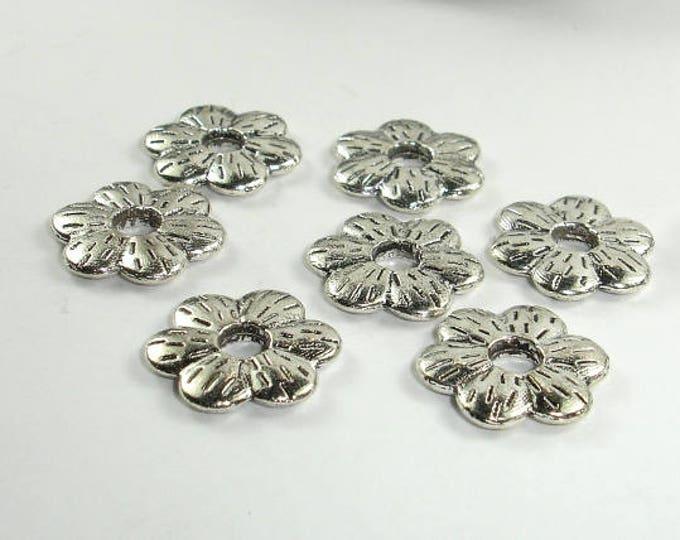 Metal Flower Spacer, Zinc Alloy, Antique Silver Tone, 16mm, 20 pcs, Hole 4mm (006870027)
