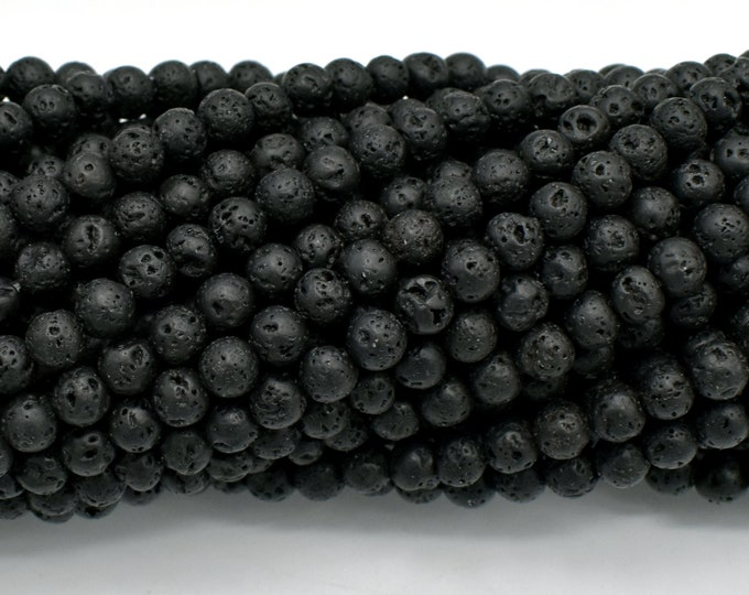 Black Lava Beads, Round, 4mm(4.8mm), 15 Inch, Full strand, Approx 87 beads, Hole 0.8 mm, A quality (300054018)