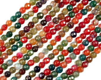 Agate Beads, Multicolor, 4mm Faceted Round,14.5 Inch, Full strand, Approx 92 beads, Hole 0.8 mm (122025269)
